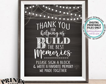 "Sign a Block Sign, Thank You for Helping Us Build Memories Wedding Sign, Write a Memory Sign, PRINTABLE 8x10"" Chalkboard Style Sign <ID>"