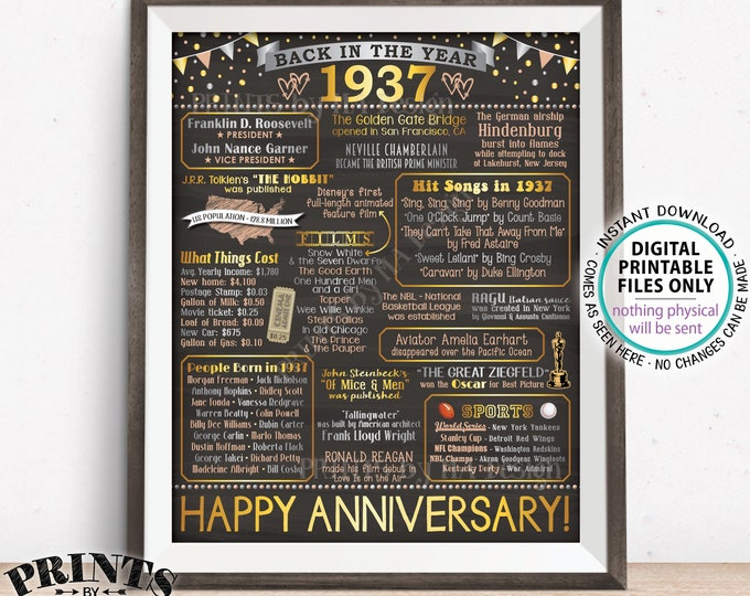 """Back in 1937 Anniversary Poster Board, Flashback to 1937 Anniversary Party Decoration, Gift, Custom PRINTABLE 16x20"""" Sign"""