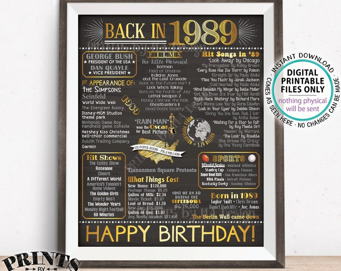 "1989 Birthday Flashback Poster, Back in 1989 Birthday Decorations, '89 B-day Gift, PRINTABLE 16x20"" B-day Sign <ID>"