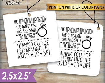 """Bridal Shower Tags, Bridal Shower Favors, Bridal Shower Thank You Favors, Wedding Shower, Square 2.5"""" tags on 8.5x11"""" PRINTABLE Sheet <ID>"""