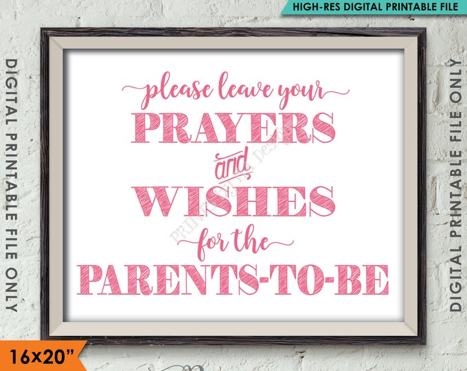 """Wishes for Parents Sign, Baby Shower Decor, Prayers & Wishes for the Parents-to-Be, PINK 8x10/16x20"""" Instant Download Digital Printable File"""