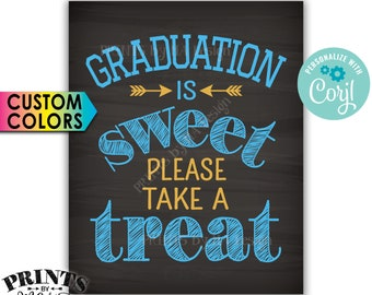 "Graduation is Sweet Please Take a Treat Graduation Party Decoration, PRINTABLE 8x10"" Chalkboard Style Sign <Edit Colors Yourself with Corjl>"