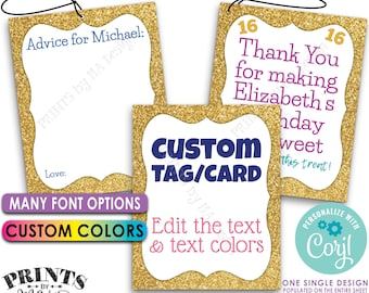 """Custom Gold Glitter Card/Tag, Choose Text, Graduation, Retirement, PRINTABLE 8.5x11"""" Sheet of 4x5"""" Cards or Tags <Edit Yourself with Corjl>"""