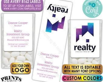 Realtor Tic Tac Labels, Custom Real Estate Stickers with your own Logo/Graphic, One PRINTABLE Avery 8162 Label <Edit Yourself with Corjl>