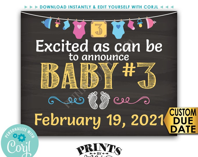 """Baby Number 3 Pregnancy Announcement, Chalkboard Style PRINTABLE 8x10/16x20"""" Baby #3 Reveal Sign <Edit Yourself with Corjl>"""