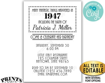 "Custom Birthday Invitation, Back in the Year Flashback Invite, All Text is Editable, PRINTABLE 5x7"" Invite <Edit Yourself with Corjl>"