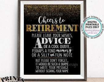 "Cheers to Retirement Party Sign, Leave Your Wish, Advice, Memory for the Retiree Celebration, PRINTABLE 8x10/16x20"" Black & Gold Sign <ID>"