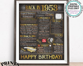 """1953 Birthday Flashback Poster, Back in 1953 Birthday Decorations, '53 B-day Gift, PRINTABLE 16x20"""" B-day Sign <ID>"""