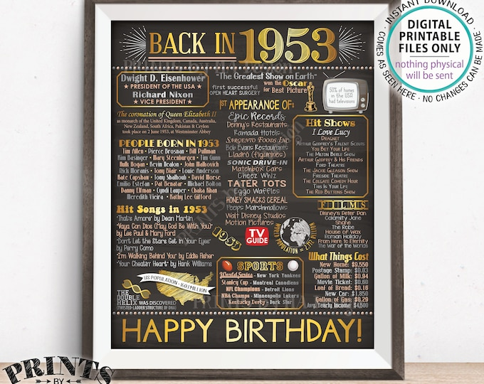 "1953 Birthday Flashback Poster, Back in 1953 Birthday Decorations, '53 B-day Gift, PRINTABLE 8x10/16x20"" Chalkboard Style B-day Sign <ID>"