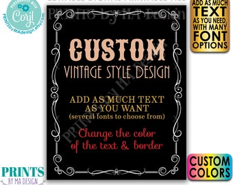 "Custom Vintage Style Sign, Better with Age Liquor Themed Party, Black Background, One PRINTABLE 8x10/16x20"" Sign <Edit Yourself with Corjl>"