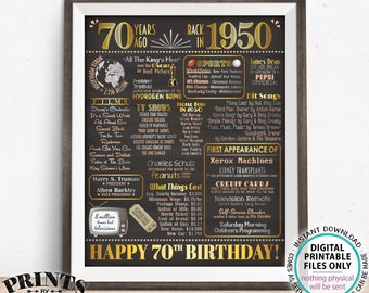 "70th Birthday Poster Board, Born in the Year 1950 Flashback 70 Years Ago B-day Gift, PRINTABLE 16x20"" Back in 1950 Sign <ID>"