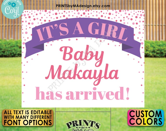 """Baby Girl Announcement Yard Sign, Editable Gender Reveal Sign, It's a Girl, Custom PRINTABLE 16x20"""" Template <Edit Yourself w/Corjl>"""