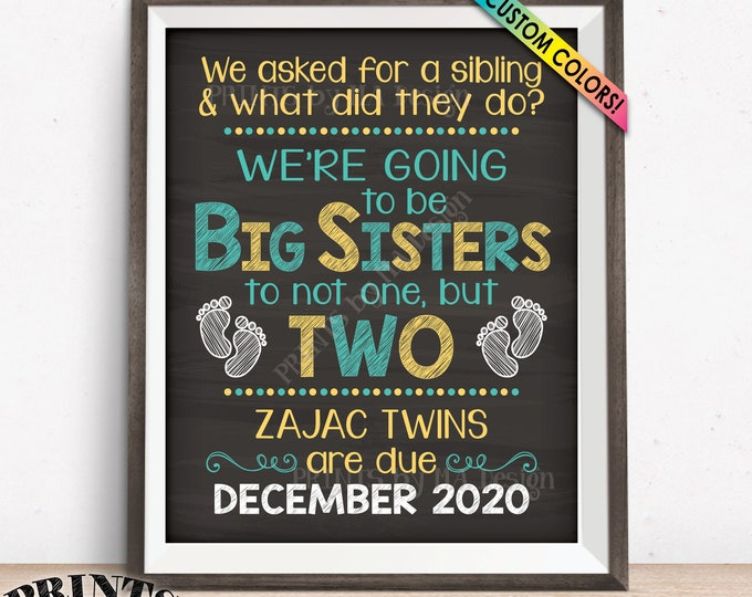 """Twins Pregnancy Announcement Sign, Promoted to Big Sisters to Twins, Custom PRINTABLE 8x10/16x20"""" Chalkboard Style Expecting Twins Sign"""