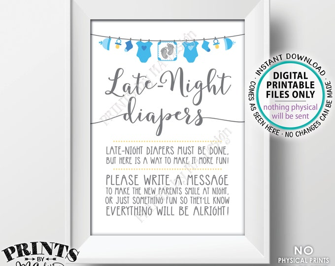 "Late Night Diapers Sign, Late-Night Diapers Sign the Diaper Thoughts, Blue Baby Shower Decoration, It's a Boy, PRINTABLE 5x7"" Sign <ID>"