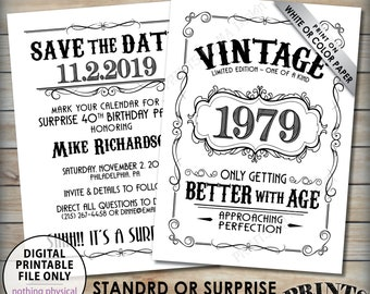 "Vintage Birthday Save the Date Invitation, Better with Age, Bday Whiskey Party, Aged to Perfection Birthday, 5x7"" Digital PRINTABLE Files"