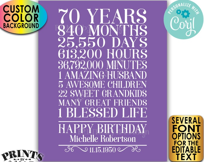 "70th Birthday Gift for a Woman, 70 Years Broken Down, Custom PRINTABLE 8x10/16x20"" Sign, Color Background <Edit Yourself with Corjl>"