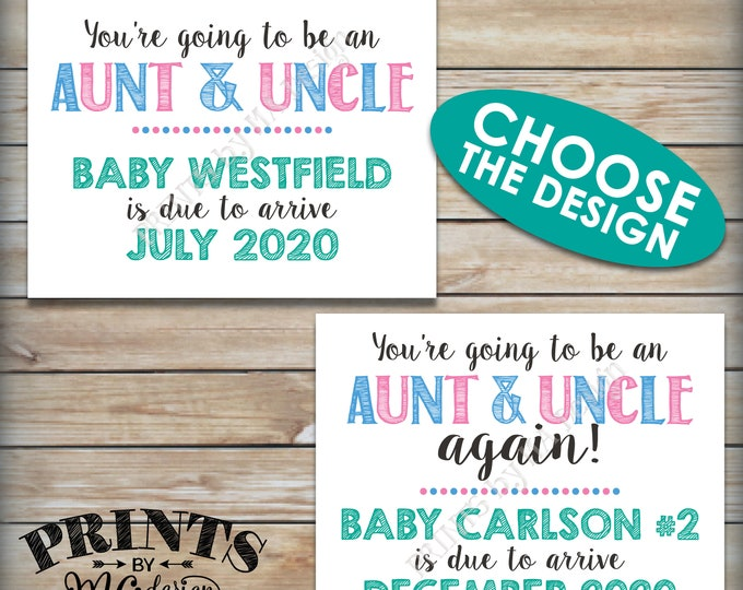 """Going to be an Aunt and Uncle Pregnancy Announcement, Uncle and Aunt Again, Expecting a Neice or Nephew, PRINTABLE 8.5x11"""" Baby Reveal Sign"""