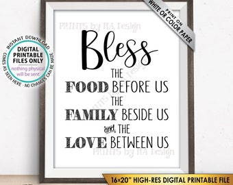 """Bless the Food Before Us The Family Beside Us the Love Between Us Kitchen Wall Decor, Blessing Sign, PRINTABLE 8x10/16x20"""" Instant Download"""