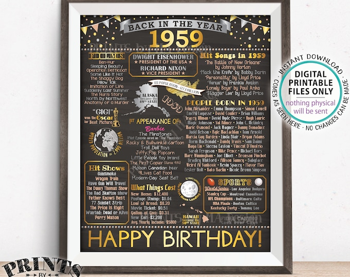 "Back in 1959 Birthday Sign, Flashback to 1959 Poster Board, '59 B-day Gift, Bday Decoration, PRINTABLE 16x20"" Sign <ID>"