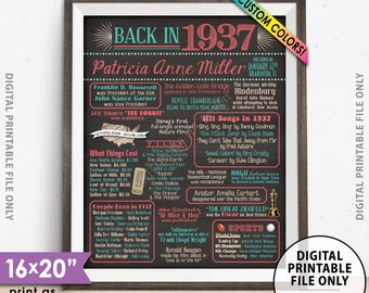 "Flashback to 1937 Poster, Back in 1937 Flashback Sign, Born in 1937 Birthday Party Decor, Chalkboard Style PRINTABLE 8x10/16x20"" 1937 Poster"