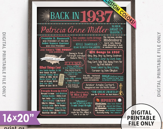 """Flashback to 1937 Poster, Back in 1937 Flashback Sign, Born in 1937 Birthday Party Decor, Chalkboard Style PRINTABLE 8x10/16x20"""" 1937 Poster"""