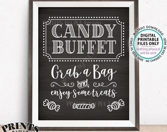 candy buffet sign grab a bag enjoy some treats sign candy bar birthday graduation printable 8x10 chalkboard style candy sign