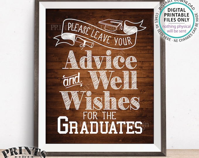 """Please Leave your Advice and Well Wishes for the Graduates, Graduation Party Decorations, PRINTABLE 8x10"""" Rustic Wood Style Grads Sign <ID>"""