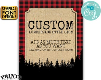 """Custom Lumberjack Sign, Choose Your Text, Red Checker Plaid, Trees, One PRINTABLE 8x10/16x20"""" Portrait Sign <Edit Yourself with Corjl>"""