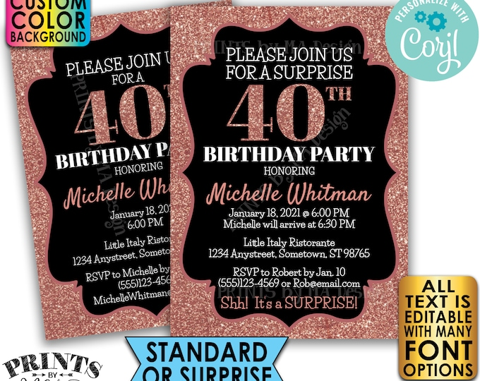 "Rose Gold Glitter Birthday Party Invitation, Surprise or Standard Invite, Custom PRINTABLE 5x7"" Digital File <Edit Yourself with Corjl>"