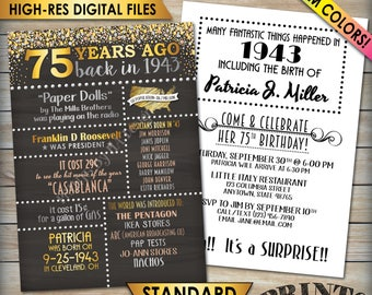 "75th Birthday Invitation, 1943 Invite, Born in 1943 Flashback 75 Years Ago, 75th Invite, 75th Bday 5x7"" Chalkboard Style Digital Printables"