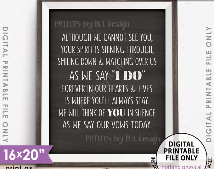 "Heaven Wedding Sign, Although we cannot see you Thinking Of You Wedding Tribute Sign 8x10/16x20"" Chalkboard Style PRINTABLE Instant Download"