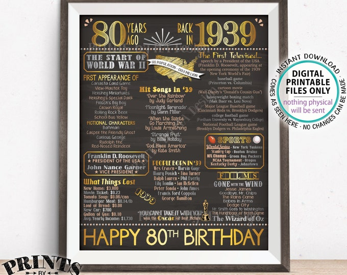 "80th Birthday Gift, Born in 1939 Birthday Flashback 80 Years Back in 1939 B-day, Gold, PRINTABLE 16x20"" Sign <ID>"