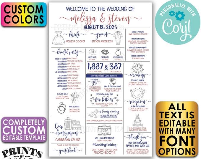 "Infographic Wedding Program, Fun Editable Program, Customizable, Unique PRINTABLE 24x36"" Sign <Edit Yourself with Corjl>"