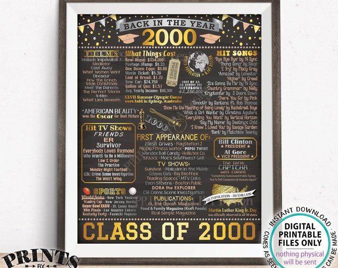 "Class of 2000 Reunion Decoration, Back in the Year 2000 Poster Board, Flashback to 2000 High School Reunion, PRINTABLE 16x20"" Sign <ID>"