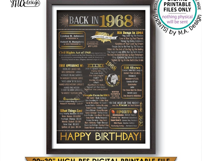 "1968 Poster, Flashback to 1968 50th Birthday Gift, Back in 1968, 50 Years Ago, USA, Instant Download PRINTABLE 20x30"" Chalkboard Style Sign"