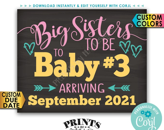 "Baby #3 Pregnancy Announcement, Big Sisters to 3rd Baby, Third Child, PRINTABLE 8x10/16x20"" Baby Number 3 Sign <Edit Yourself with Corjl>"