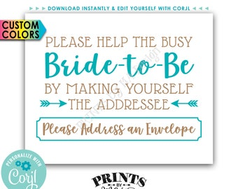 """Address an Envelope Bridal Shower Sign, Help the Bride, Be the Addressee, Thank You Card, PRINTABLE 8x10"""" Sign <Edit Yourself with Corjl>"""