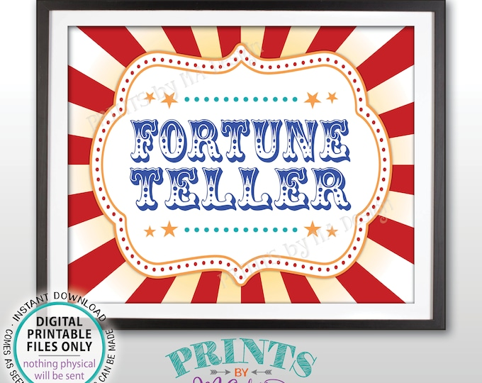 "Fortune Teller Carnival Party Sign, Carnival Games, Circus Party Fortune Teller Circus Activities, Birthday, PRINTABLE 8x10/16x20"" Sign <ID>"