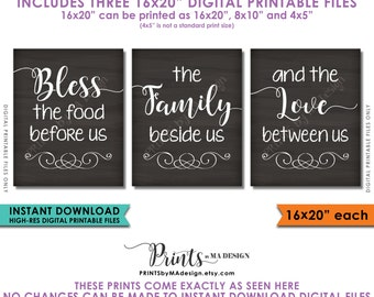 "Bless the Food Before Us The Family Beside Us the Love Between Us, Kitchen Wall Decor, 3 PRINTABLE 8x10/16x20"" Chalkboard Style Signs <ID>"