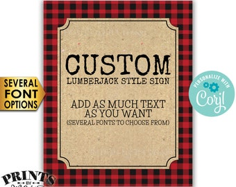 "Custom Lumberjack Sign, Choose Your Text, Red Checker Buffalo Plaid Custom PRINTABLE 8x10/16x20"" Portrait Sign <Edit Yourself with Corjl>"