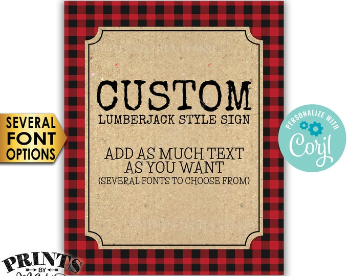 "Custom Lumberjack Sign, Choose Your Text, Red Checker Buffalo Plaid Custom PRINTABLE 8x10/16x20"" Portrait Sign <Edit Yourself with Corjl>"