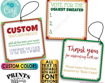 "Custom Christmas Tags, Voting Ballots, 2"" Square Cards on a Digital PRINTABLE 8.5x11"" File <Edit Yourself with Corjl>"