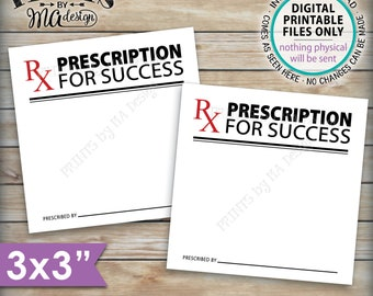 "Please Leave Your Prescription for Success, Med School Advice, RX, Nurse Graduation Party, 3x3"" Advice Cards on 8.5x11"" PRINTABLE Sheet <ID>"