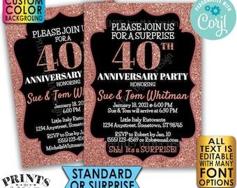 "Rose Gold Glitter Anniversary Party Invitation, Surprise or Standard Invite, Custom PRINTABLE 5x7"" Digital File <Edit Yourself with Corjl>"