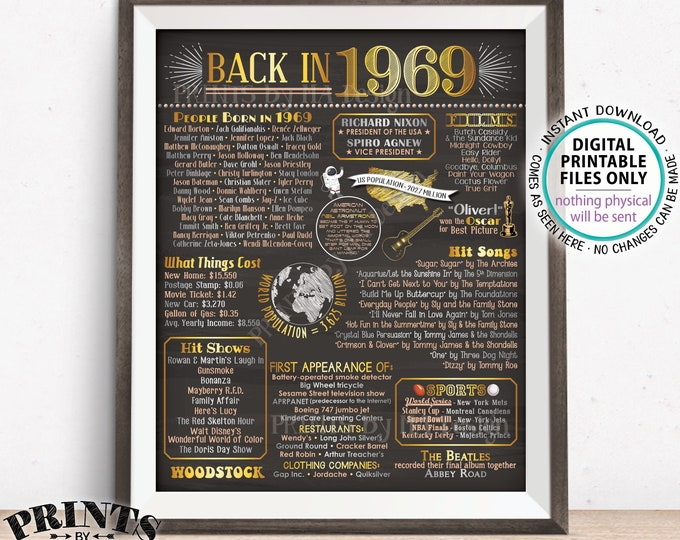 "Back in 1969 Poster Board, Remember 1969 Flashback USA History, Birthday Anniversary Reunion, PRINTABLE 16x20"" Sign <ID>"