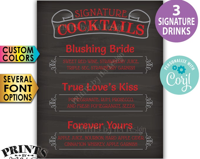 """Signature Cocktails Sign, 3 Signature Drinks Sign, Custom PRINTABLE 8x10/16x20"""" Chalkboard Style Sign <Edit Yourself w/Corjl>"""