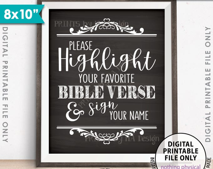 """Highlight Your Favorite Bible Verse and Sign Your Name Wedding Sign, Sign our Bible Sign, Chalkboard Style PRINTABLE 8x10"""" Instant Download"""