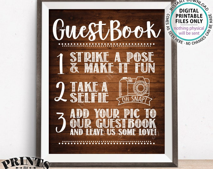 """Guestbook Photo Sign, Selfie Sign, Wedding Guest Book Photo Sign, Wedding Decor, Share, PRINTABLE 8x10/16x20"""" Rustic Wood Style Sign <ID>"""