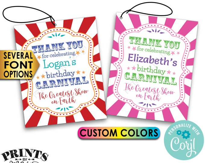 """Carnival Birthday Tags, Birthday Party Favors Treat Goodie Bags, PRINTABLE 8.5x11"""" Sheet of 4x5"""" Cards <Edit Yourself with Corjl>"""