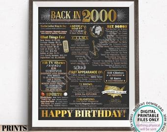 "Back in 2000 Birthday Poster Board, Flashback to 2000 Birthday Decoration, '00 B-day Gift, PRINTABLE 16x20"" Sign, Birthday Decor <ID>"